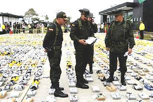 Colombian Police seizing the 3.3 tons of cocaine